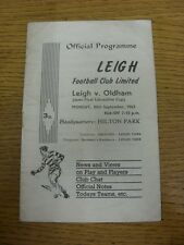 30/09/1963 Rugby League Programme: Lancashire Cup Semi-Final, Leigh v Oldham  (f