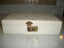 vintage jewelry box ring box ivory gold flleur de lis with 2 pink trays & key