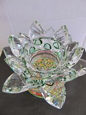 "Crystal 5"" Lotus Home Deco Gift Box Clear New  Multi color with 7 LED Light Base"