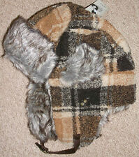 NEW RIVER ISLAND BROWN CHECK TRAPPER HAT WITH FAUX FUR  One Size