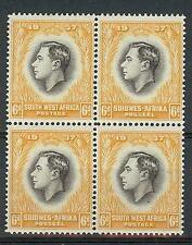 South West Suidwes Africa 1937 Sc# 131 6p George VI Coronation block 4 MNH