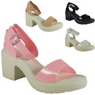 NEW WOMENS LADIES PATENT STRAPPY MID HEEL SUMMER FASHION SHOES SANDALS SIZE 3-8
