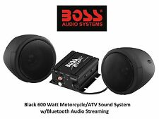 Black Audio Sound System Suzuki Custom Bluetooth All Weather Handle Bar Mount