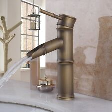 Antique Brass Bathroom Bamboo Vessel Sink Basin Faucet One Hole/Handle Mixer Tap