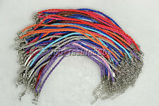 "Jewelry Wholesale Lots 20pcs Mixed Color Twist Leather Cord Bracelets 10"" free"
