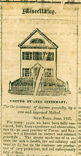 "Newspaper - ""The Telescope"" United States Infirmary - Surgery for the Poor-1827"