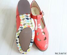 Orla Kiely Clarks Orla Bobbie Coral Ladies Leather Shoes UK 6