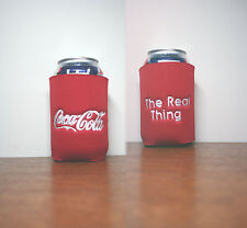 "1- ""Coca Cola"" Red CanCooler Doubled Sided w/White thread machine embroidered"