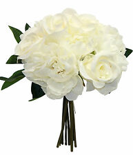 CREAM IVORY  ~ Roses Peonies ~ Bouquet Bridal Silk Wedding Flowers Centerpieces