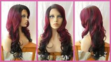 FREE SHIPPING Lace Front Quality Synthetic Wig - Copper Red Ombre Wavy Hairstyle