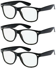 3 Pairs WAYFARER NERD Smart Black FAKE Glasses Clear costume fashion wholesale