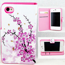 Flower Flip Stand Wallet Leather Holster Cover Case For Apple Iphone 4 4G 4S 4GS
