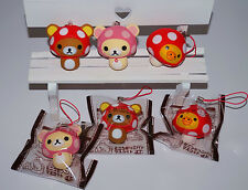 San-X Brown or White Rilakkuma KIIROITORI Strawberry Squishy Phone Strap 1pcs