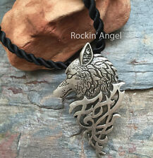 Antique Silver Plt Slavic Wolf Pendant Necklace, Ladies Mens Gift Viking Norse