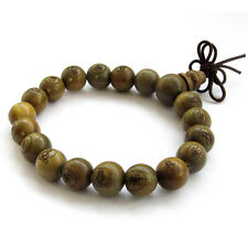 Green Sandalwood Buddha Word Tibet Buddhist Prayer Beads Mala Bracelet--19Beads