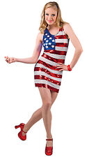 LADIES SEXY USA FLAG STARS N STRIPES SEQUIN FANCY DRESS COSTUME OUTFIT 10-12 NEW