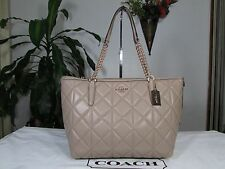 NWT Coach Quilted Leather Ava Chain Tote Shoulder Bag F36661 Stone