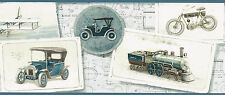 Antique Airplane Train Cars Gramophone Bike Sickle  Wallpaper bordeR Wall