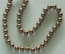 "10MM Medium Brown AAA South Sea Shell Pearl Necklace 17"" NEW (silk gift bag)"