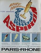 PUBLICITE PARIS RHONE ASPIRON ASPIRATEUR DE 1965 FRENCH AD PUB COULEUR VINTAGE