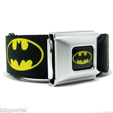 Batman DC Comics Black Yellow Licensed Seatbelt Seat Belt Style Men Buckle Down