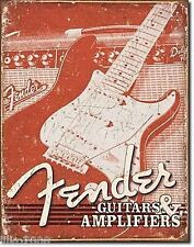FENDER GUITARS USA,STRATOCASTER/AMPS, ANTIQUE-FINISH VINTAGE WALL SIGN 40x30 cm