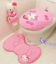 super Cute set of Hello Kitty 4pc toilet+lid cover, floor mats, tissue cover