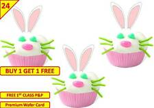 24 x EASTER RABBIT BUNNY EARS Birthday Cup Cake Fairy Toppers Wafer Edible STAND