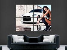 NISSAN GTR CAR WITH HOT SEXY GIRL   GIANT  IMAGE ART LARGE WALL  POSTER  PRINT