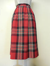 PENDLETON Vintage Red Plaid Summer Weight Wool Fully Lined Skirt Size: 12P