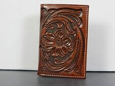 Tooled Leather Western Billfold Wallet Trifold Tri-fold
