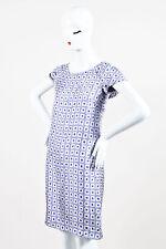Etro NWT Purple & Gray Silk Geometric Print SS Shift Dress SZ 42