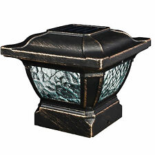 "PARADISE NEW GL28998BZ Bronze 4"" x 4"" Solar Cast Aluminum LED Post Cap Light"