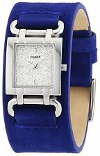 NEW GUESS SILVER+ROYAL BLUE SUEDE LEATHER BAND,CUFF,GLITZ DIAL WATCH W0153L1