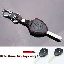 Leather Remote Fob Key Chain Holder Case Cover Fit 3 Buttons Camry RAV4 Corolla