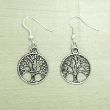Vintage Silver Round Tree Of Life Dangle Celtic Earrings 925 Sterling Hooks NEW