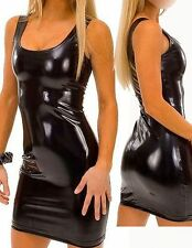WETLOOK MINI KLEID GLANZ LACK LEDER STYLE CLUBWEAR PARTY GOGO BLACK MINI DRESS
