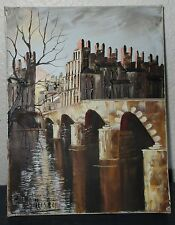 """SMALL OIL PAINTING OF PARIS, SEINE RIVER AND BRIDGE. 5""""X7"""" NO FRAME"""