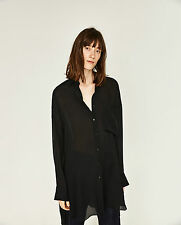 BNWT ZARA STUDIO BLACK SILK OVERSIZED SHIRT WITH POCKET SIZE M ONE SIZE