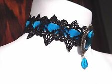 AQUA BLACK VELVET LACE CHOKER necklace Alice in Wonderland Gothic Steampunk K6