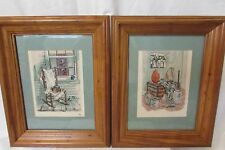 Cross Stitch Framed Pictures Matted,( Two )Country Home Scenes With Pine Frames