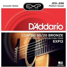 D'Addario EXP12 recubierto 80/20 cuerdas guitarra acústica de bronce medio 13-56