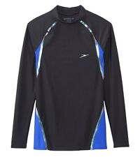 SPEEDO Lazer (LZR) Fit Long-Sleeve Rash Guard Swim Top Compression M Blue *NWT*