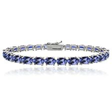 925 Silver 16ct TGW Tanzanite Oval-Shape Tennis Bracelet