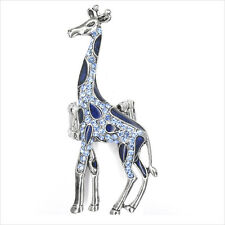 "Giraffe Animal Adj Cocktail Rings Painted Blue Crystal Costume Jewelry 2.7"" New"