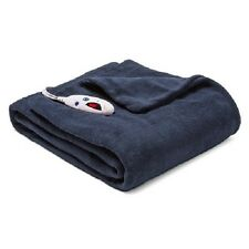 BIDDEFORD MICROPLUSH HEATED ELECTRIC THROW BLANKET EXTRA LONG NAVY 6 SETTINGS