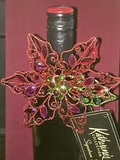 Red Poinsettia Wine Decorative Jewelry Bottle Top Gift by Katherines Collection
