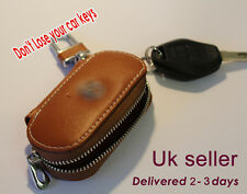 Genuine leather car key bag for Mitsubishi . Brown color - uk seller