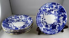 6 Royal Crown Derby Mikado China Cereal Bowls Blue with Gold Trim