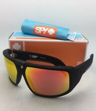 New SPY OPTIC Sunglasses TOURING Soft Matte Black Frame w/ Grey Green+Red Mirror
